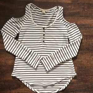 Double Zero Striped Long Sleeve Shirt w/ Cut Outs